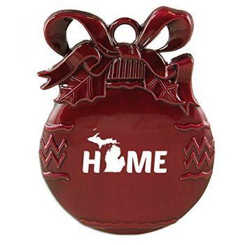 Michigan-State Outline-Home-Christmas Tree Ornament-Burgundy