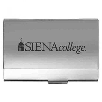 Siena College - Two-Tone Business Card Holder - Silver