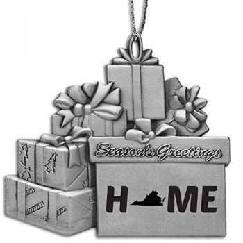 Virginia-State Outline-Home-Pewter Gift Package Ornament-Silver