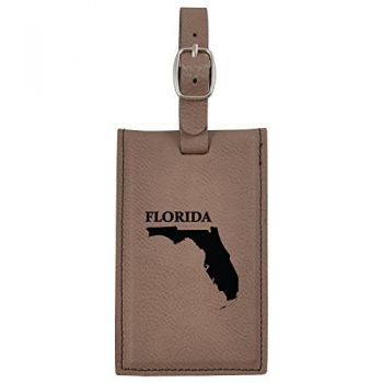 Florida-State Outline-Leatherette Luggage Tag -Brown