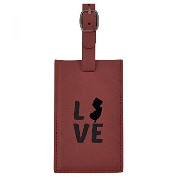 New Jersey-State Outline-Love-Leatherette Luggage Tag -Burgundy