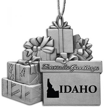 Idaho-State Outline-Pewter Gift Package Ornament-Silver