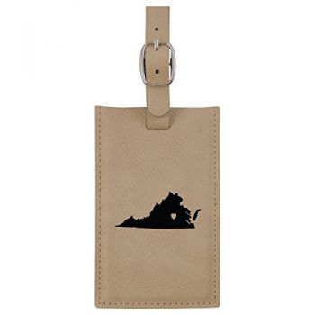 Virginia-State Outline-Heart-Leatherette Luggage Tag -Tan