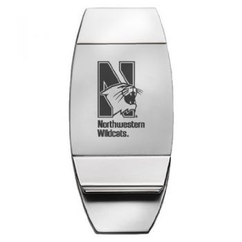 Northwestern University - Two-Toned Money Clip - Silver