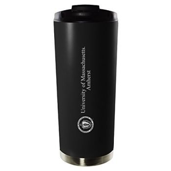 University of Massachusetts Amherst-16oz. Stainless Steel Vacuum Insulated Travel Mug Tumbler-Black