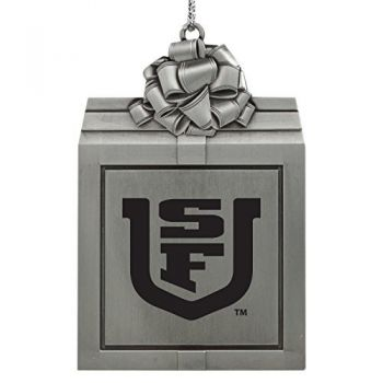 University of San Francisco -Pewter Christmas Holiday Present Ornament-Silver