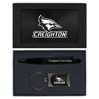 Creighton University -Executive Twist Action Ballpoint Pen Stylus and Gunmetal Key Tag Gift Set-Black