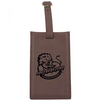 Southeastern Louisiana University -Leatherette Luggage Tag-Brown