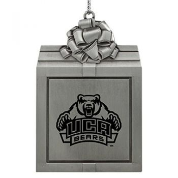 University of Central Arkansas-Pewter Christmas Holiday Present Ornament-Silver