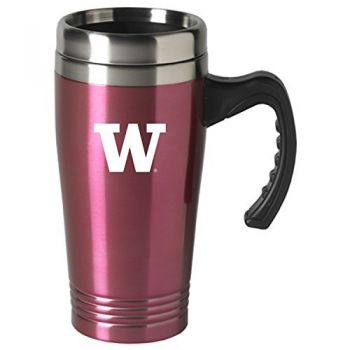 University of Washington-16 oz. Stainless Steel Mug-Pink