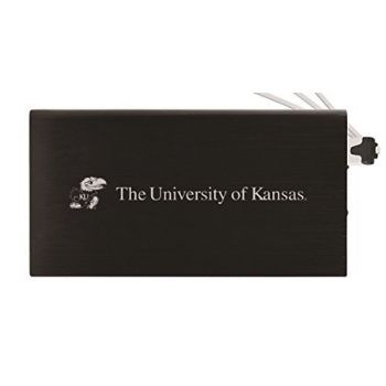 8000 mAh Portable Cell Phone Charger-The University of Kansas-Black