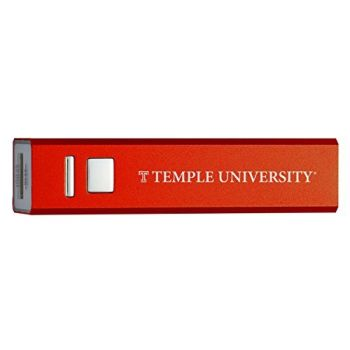 Temple University - Portable Cell Phone 2600 mAh Power Bank Charger - Red