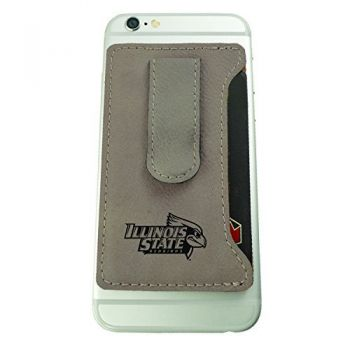 Illinois State University-Leatherette Cell Phone Card Holder-Tan