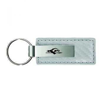 Longwood University-Carbon Fiber Leather and Metal Key Tag-White
