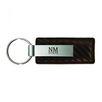 New Mexico State-Carbon Fiber Leather and Metal Key Tag-Taupe