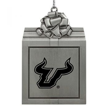 University of South Florida -Pewter Christmas Holiday Present Ornament-Silver