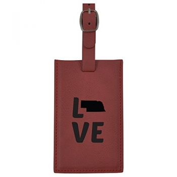 Nebraska-State Outline-Love-Leatherette Luggage Tag -Burgundy