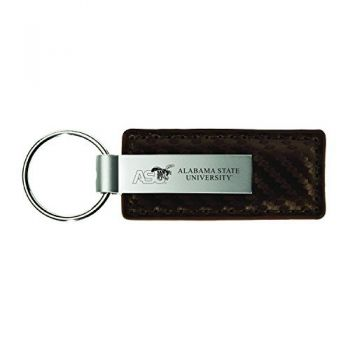 Alabama State University-Carbon Fiber Leather and Metal Key Tag-Taupe