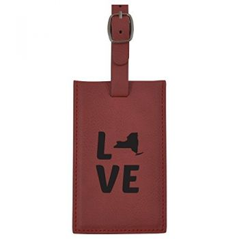 New York-State Outline-Love-Leatherette Luggage Tag -Burgundy