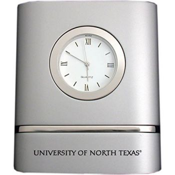 University of North Texas- Two-Toned Desk Clock -Silver