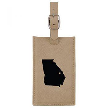 Georgia-State Outline-Heart-Leatherette Luggage Tag -Tan