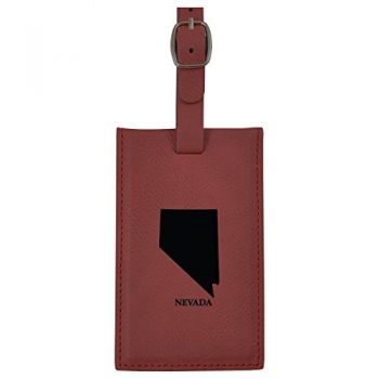 Nevada-State Outline-Leatherette Luggage Tag -Burgundy