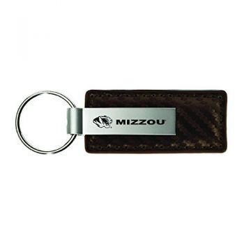 University of Missouri-Carbon Fiber Leather and Metal Key Tag-Taupe