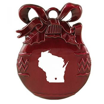 Wisconsin-State Outline-Heart-Christmas Tree Ornament-Burgundy