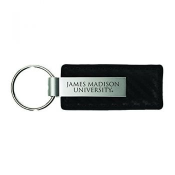James Madison University-Carbon Fiber Leather and Metal Key Tag-Black