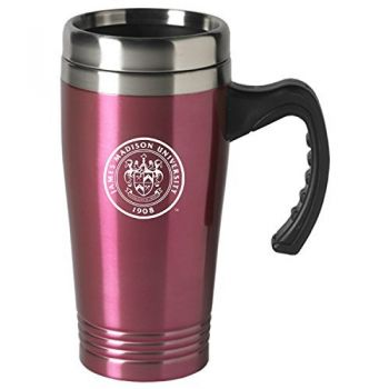 James Madison University-16 oz. Stainless Steel Mug-Pink