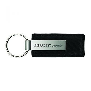 Bradley University-Carbon Fiber Leather and Metal Key Tag-Black
