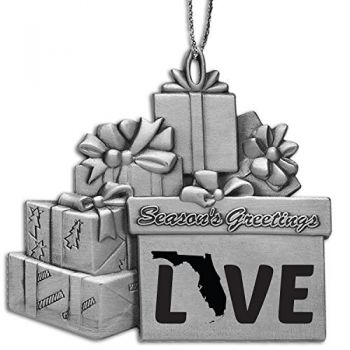 Florida-State Love-Pewter Gift Package Ornament-Silver