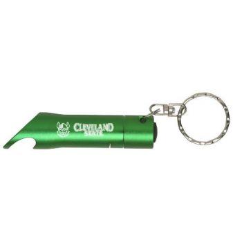 Cleveland State University - LED Flashlight Bottle Opener Keychain - Green