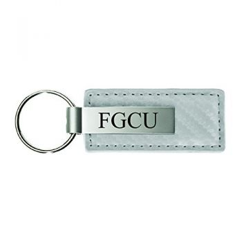 Florida Gulf Coast University-Carbon Fiber Leather and Metal Key Tag-White