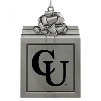 Campbell University -Pewter Christmas Holiday Present Ornament-Silver