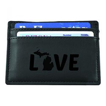 Michigan-State Outline-Love-European Money Clip Wallet-Black