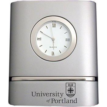 University of Portland- Two-Toned Desk Clock -Silver
