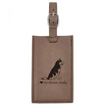 Travel Baggage Tag with Privacy Cover  - I Love My Siberian Huskie