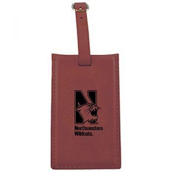 Northwestern University -Leatherette Luggage Tag-Burgundy