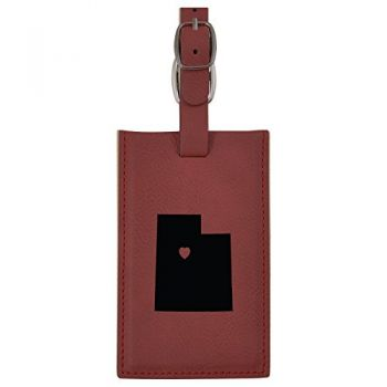 Utah-State Outline-Heart-Leatherette Luggage Tag -Burgundy