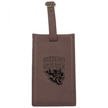 California State University, Chico-Leatherette Luggage Tag-Brown