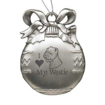 Pewter Christmas Bulb Ornament  - I Love My Westie