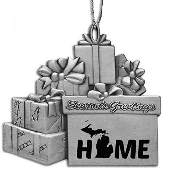 Michigan-State Outline-Home-Pewter Gift Package Ornament-Silver