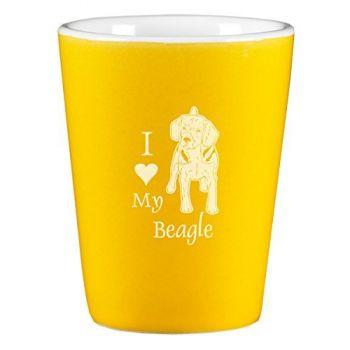2 oz Ceramic Shot Glass  - I Love My Beagle