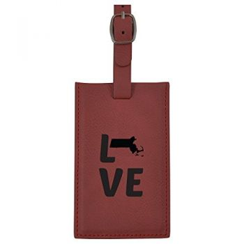 Massachusetts-State Outline-Love-Leatherette Luggage Tag -Burgundy
