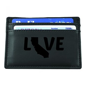 California-State Outline-Love-European Money Clip Wallet-Black