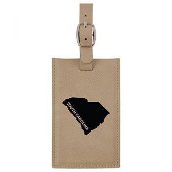 South Carolina-State Outline-Leatherette Luggage Tag -Tan