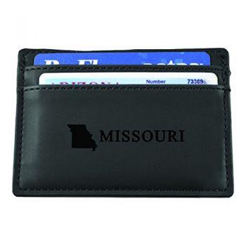 Missouri-State Outline-European Money Clip Wallet-Black