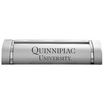 Quinnipiac University-Desk Business Card Holder -Silver