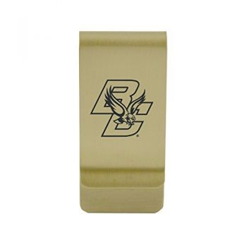 Boston University|Money Clip with Contemporary Metals Finish|Solid Brass|High Tension Clip to Securely Hold Cash, Cards and ID's|Silver